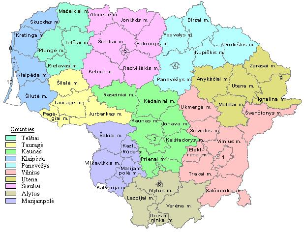 Mapa administracyjna Litwy