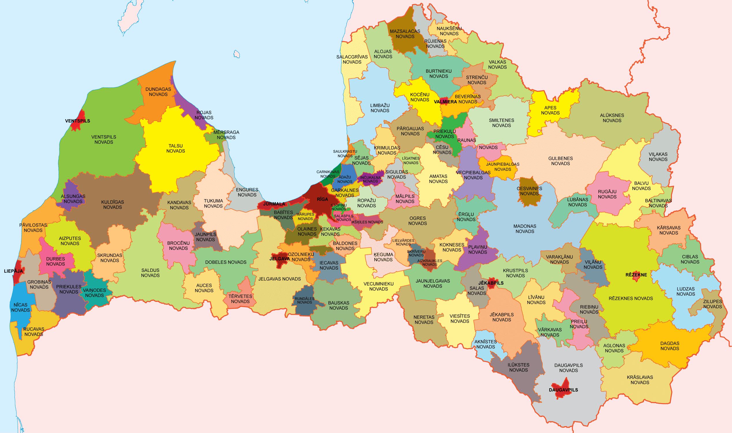 Mapa podziału administracyjnego Łotwy