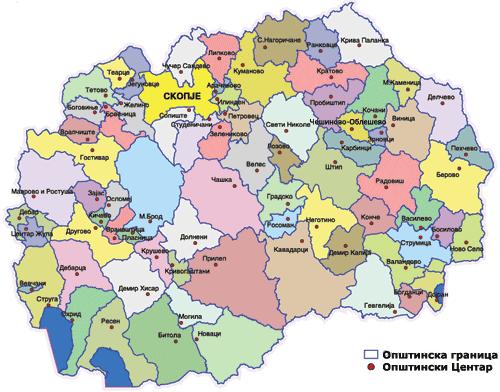 Mapa podziału administracyjnego Macedonii