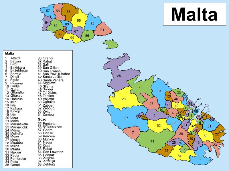 Mapa podziału administracyjnego Malty
