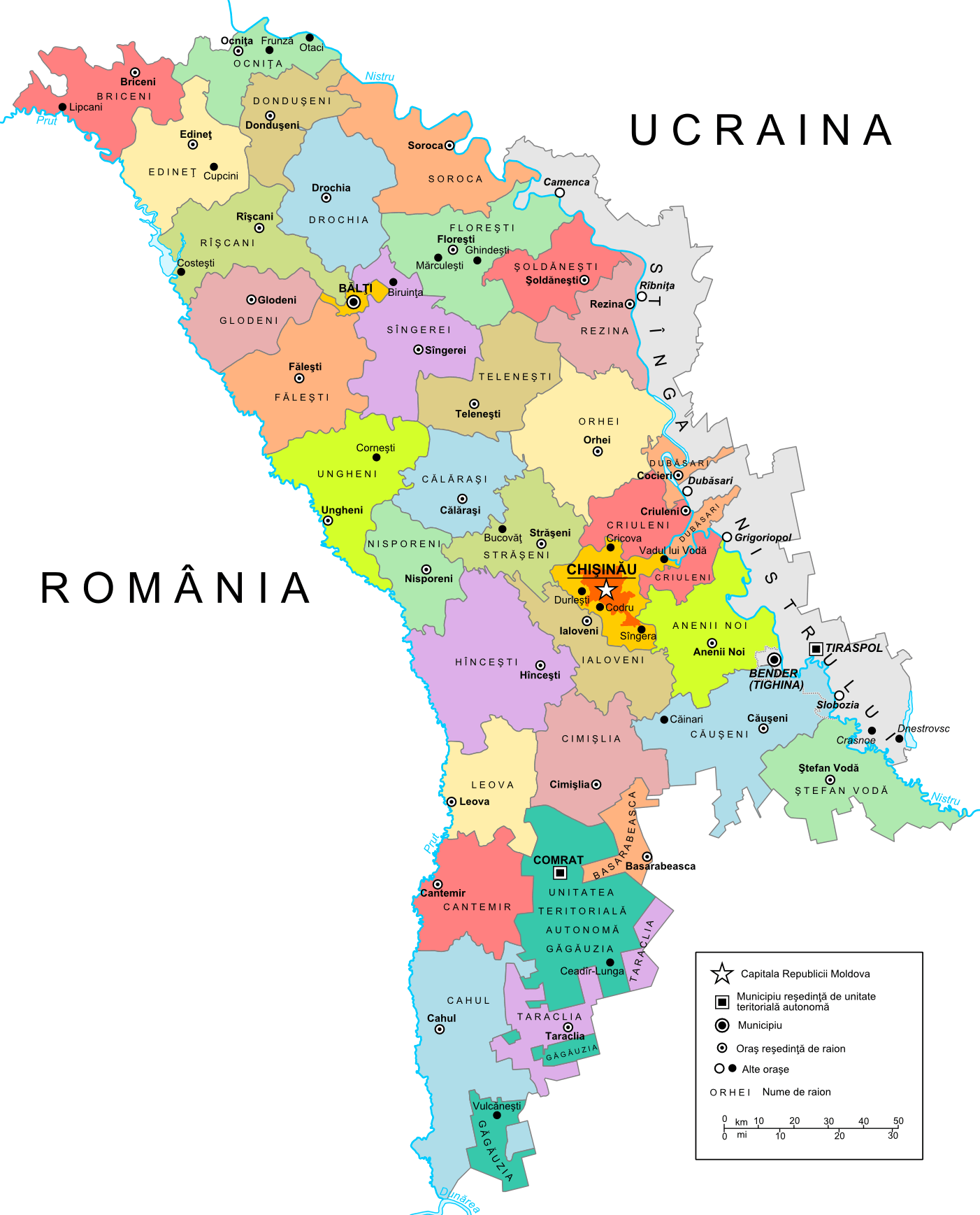 Mapa podziału administracyjnego Mołdawii