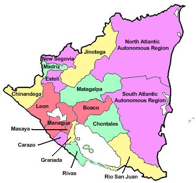Mapa podziału administracyjnego Nikaragui