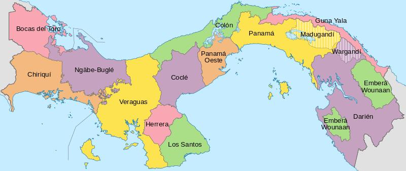 Mapa podziału administracyjnego Panamy
