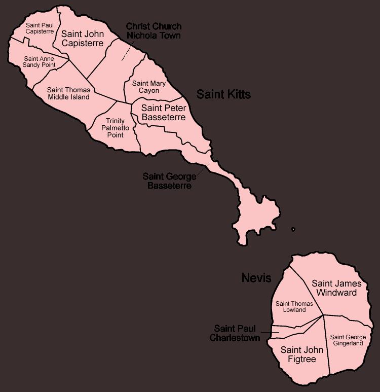 Mapa podziału administracyjnego Saint Kitts i Nevis
