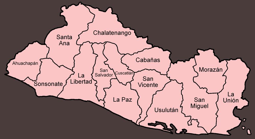 Mapa podziału administracyjnego Salwadoru