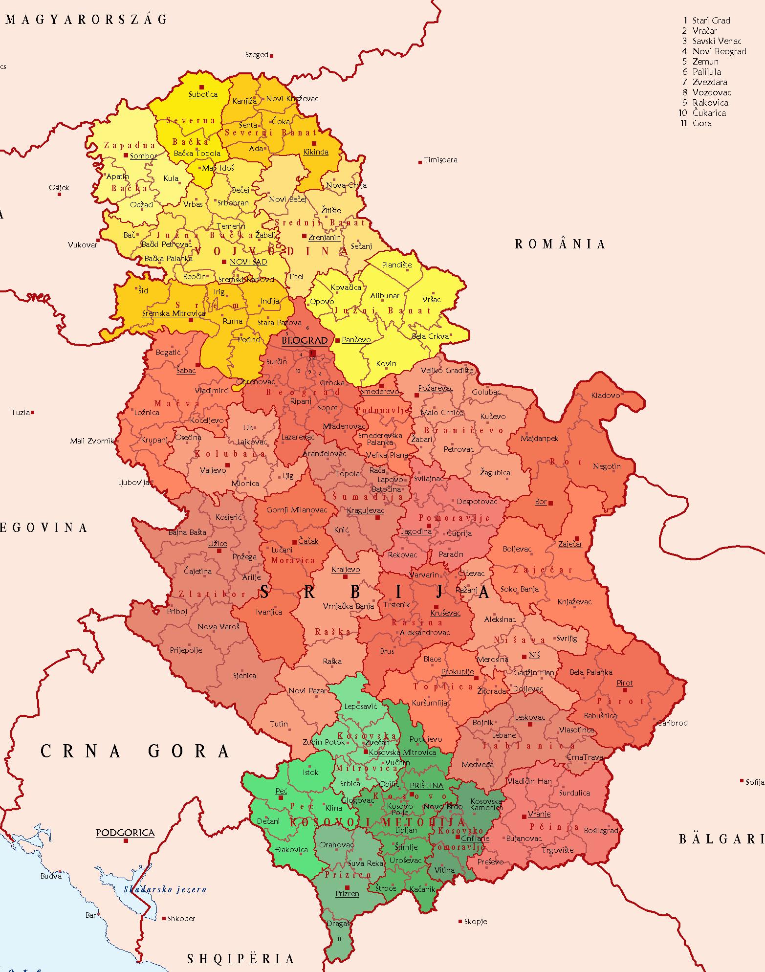 Mapa podziału administracyjnego Serbii