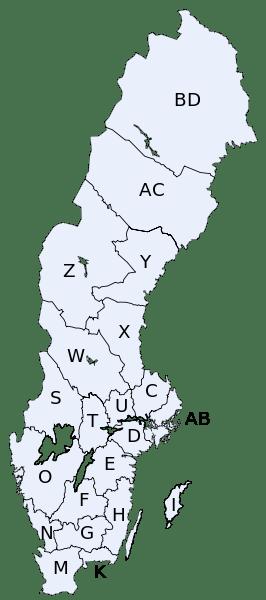 Mapa podziału administracyjnego Szwecji