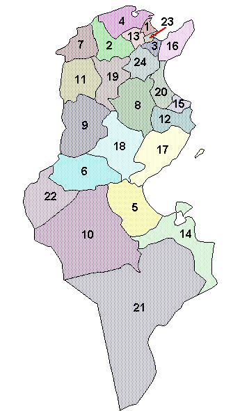 Mapa podziału administracyjnego Tunezji