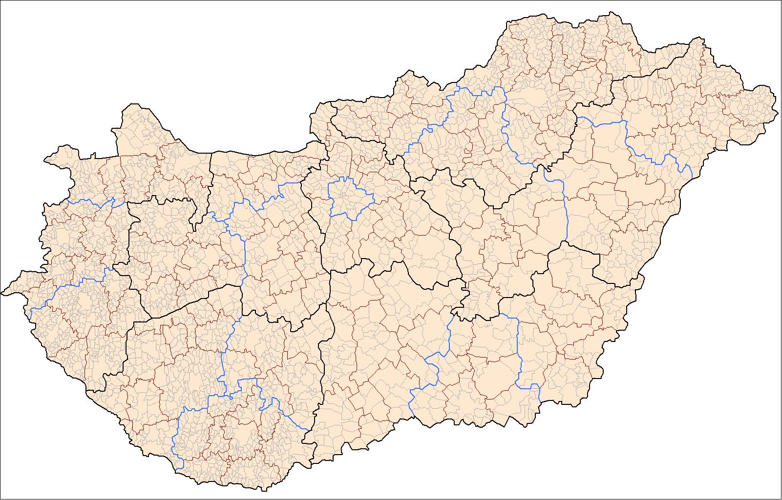 Mapa podziału administracyjnego Węgier