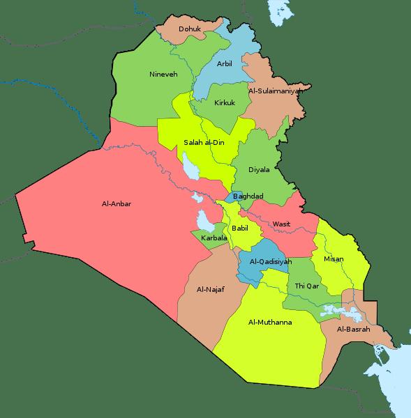 Mapa podziału administracyjnego Iraku