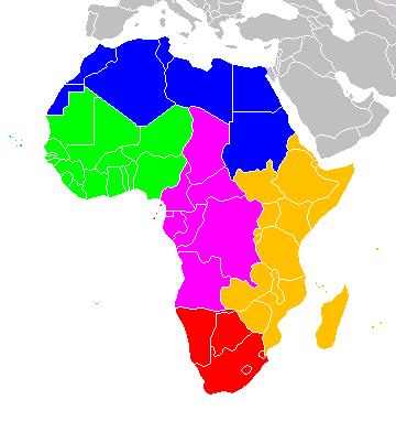 Mapa podziału Afryki na regiony