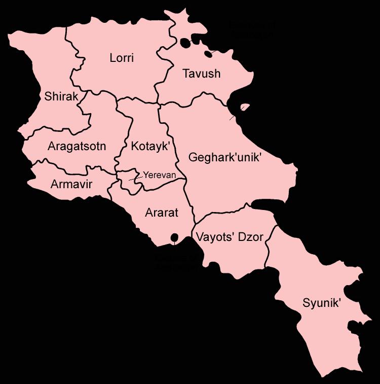 Mapa podziału Armenii na prowincje