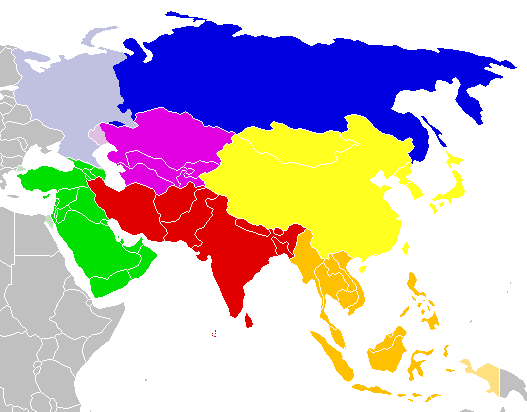 Mapa podziału Azji na regiony