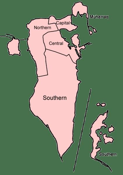Mapa podziału Bahrajnu na gubernatorstwa