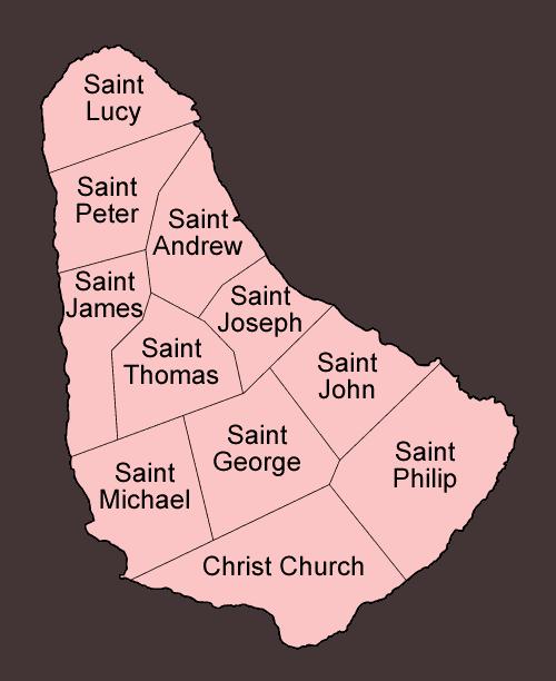 Mapa podziału Barbadosu na parafie