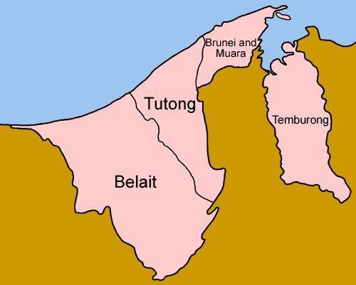 Mapa podziału Brunei na dystrykty