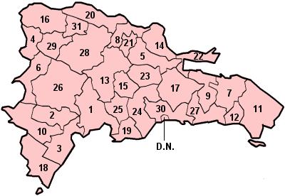 Mapa podziału Dominikany na prowincje