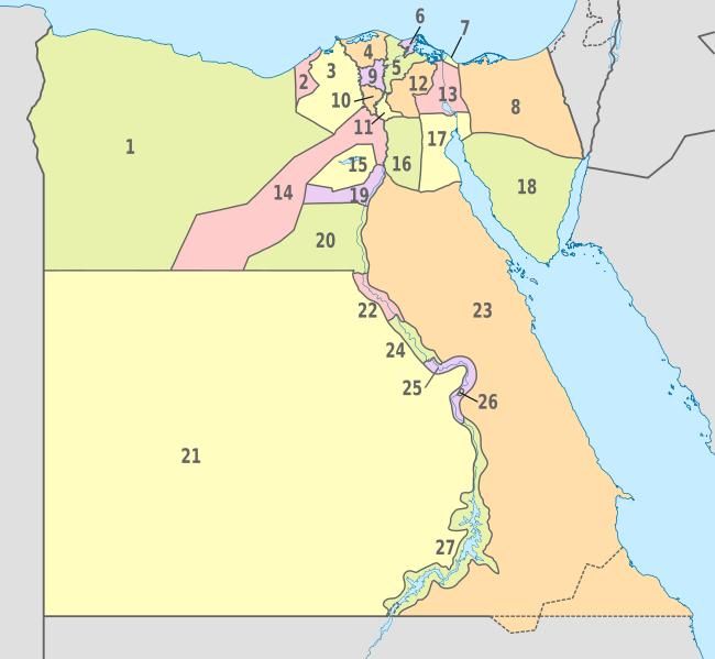 Mapa podziału administracyjnego Egiptu