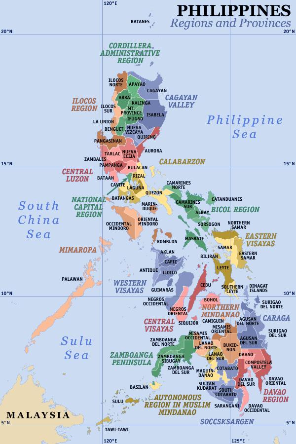 Mapa podziału Filipin na regiony i prowincje