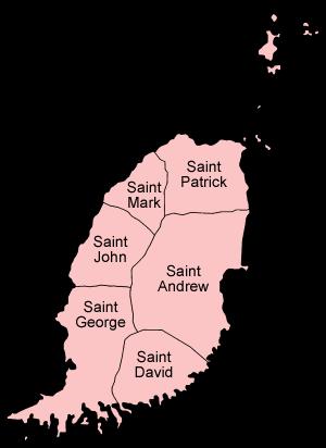 Mapa podziału Grenady na parafie