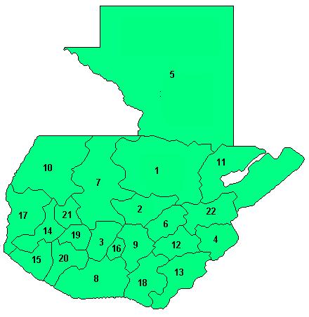 Mapa podziału Gwatemali na departamenty