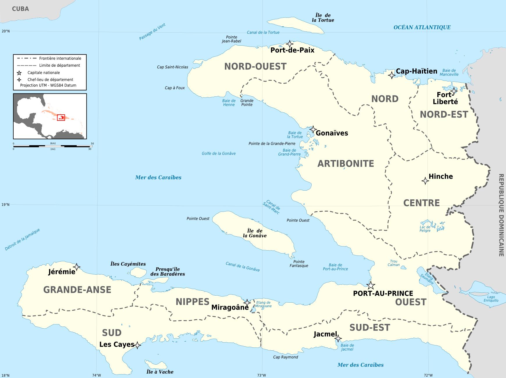 Mapa podziału Haiti na departamenty