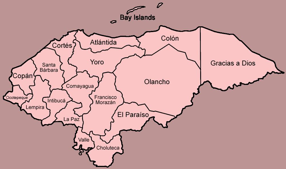 Mapa podziału Hondurasu na departamenty