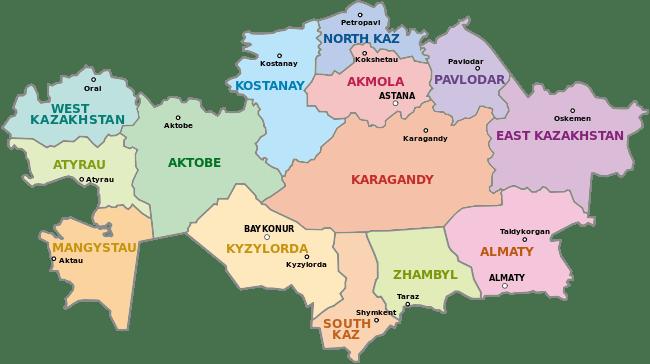 Mapa podziału Kazachstanu na prowincje
