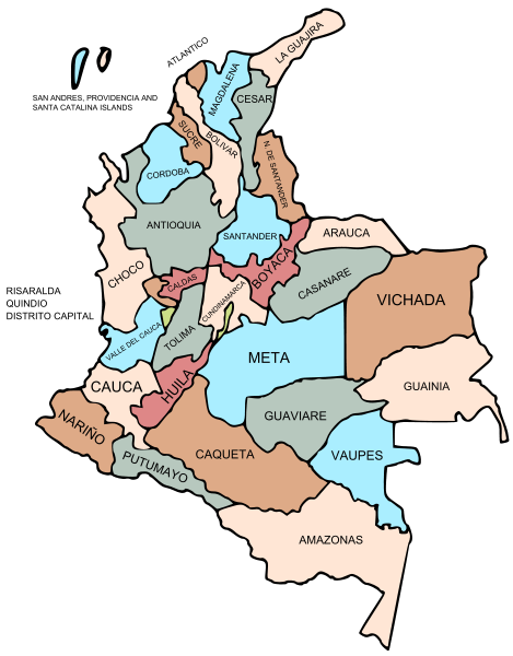 Mapa podziału Kolumbii na departamenty