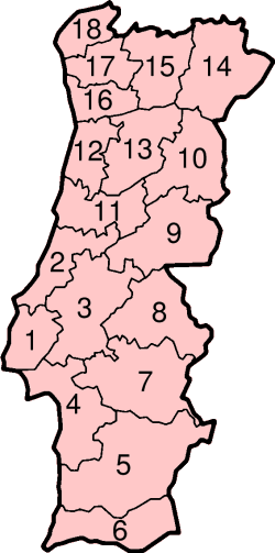Mapa podziału Portugalii na dystrykty