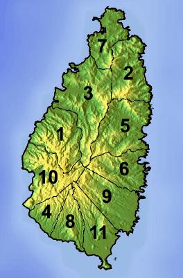 Mapa podziału Saint Lucia na dystrykty