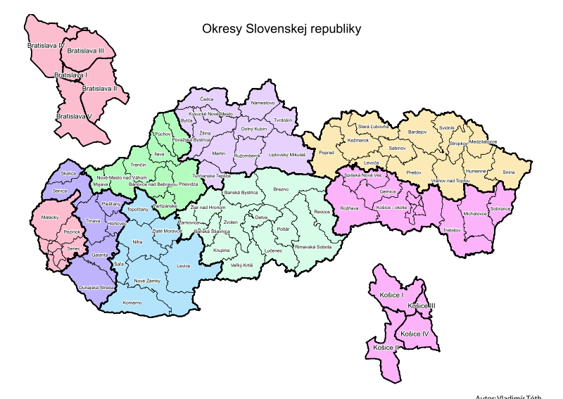 Mapa podziału Słowacji na kraje i powiaty