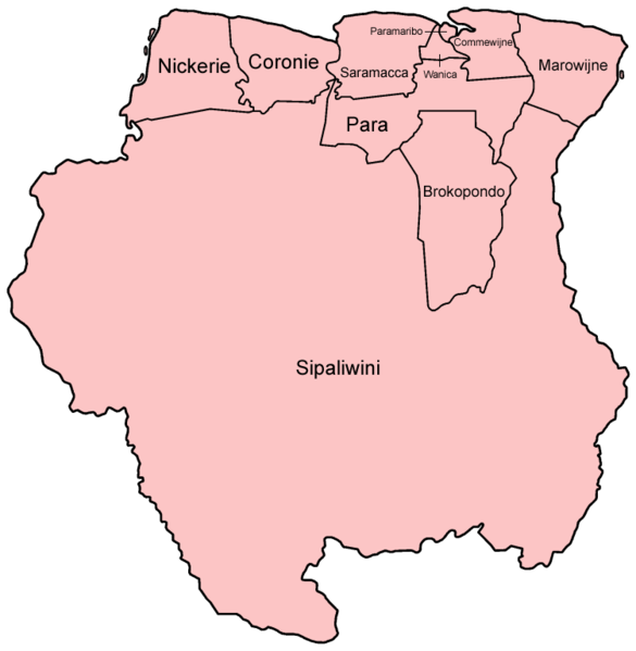 Mapa podziału Surinamu na dystrykty
