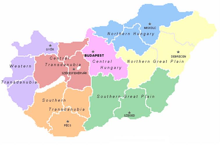 Mapa podziału Węgier na Regiony NUTS