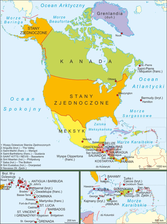 Mapa polityczna Ameryki Północnej