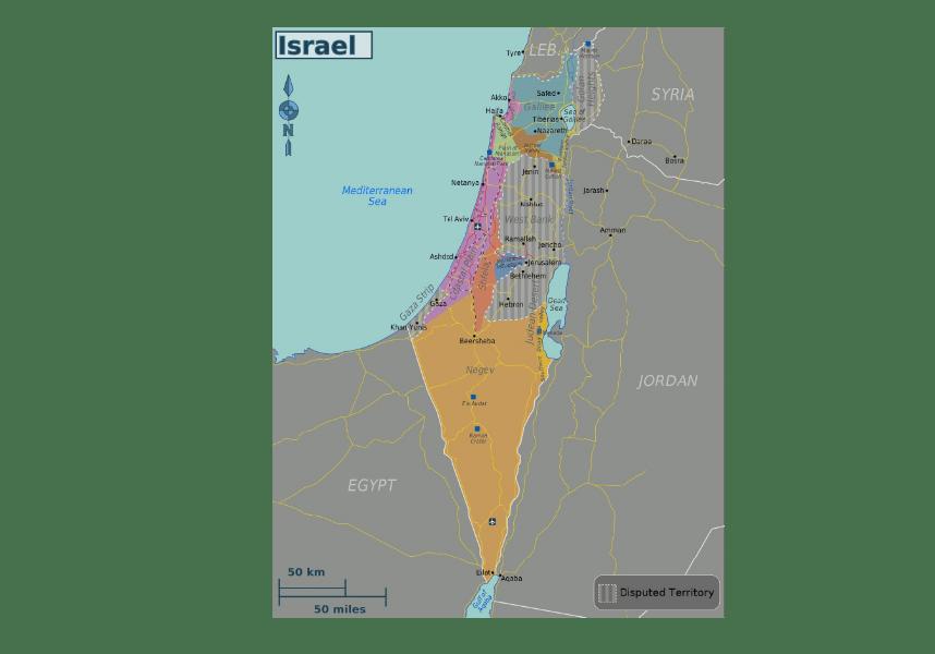 Mapa polityczna Izraela terytoria sporne