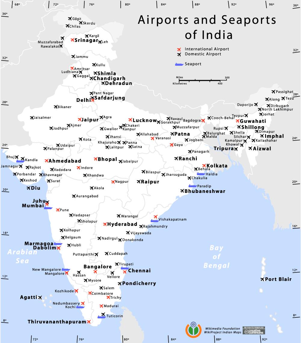 Mapa portów lotniczych i morskich w Indiach