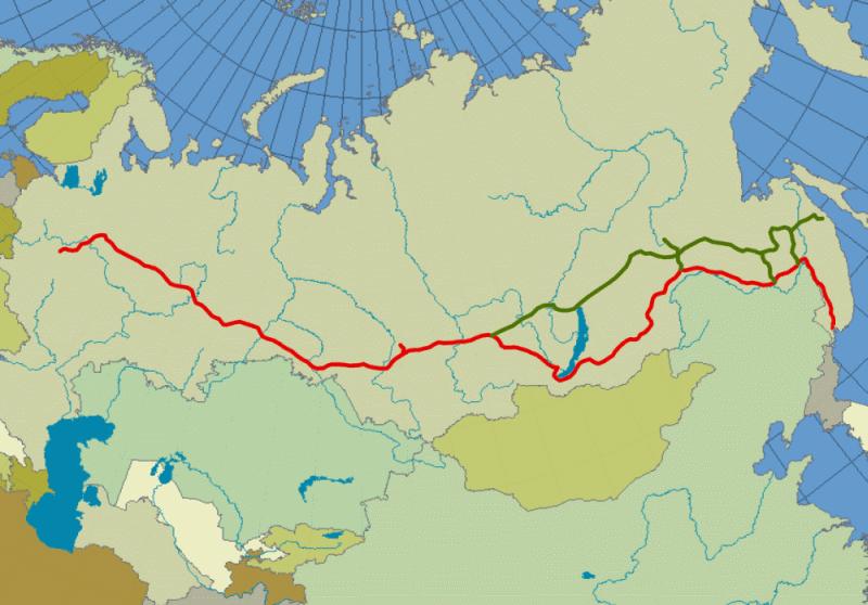 Mapa przebiegu kolei transsyberyjskiej