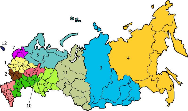 Mapa regionów ekonomicznych Rosji