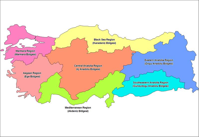Mapa regionów geograficznych Turcji