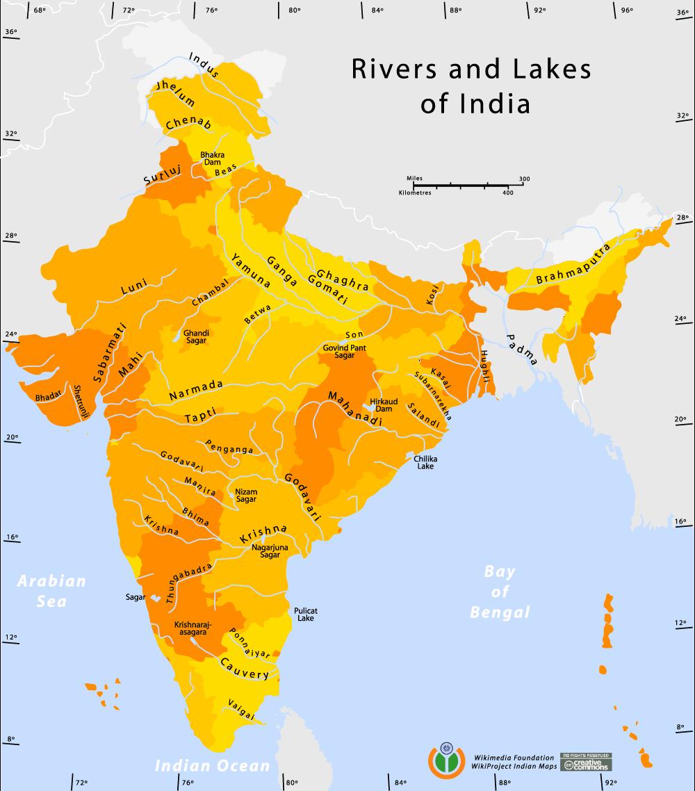 Mapa rzek i jezior w Indiach