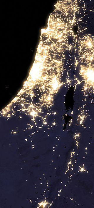 Mapa satelitarna Izraela nocna