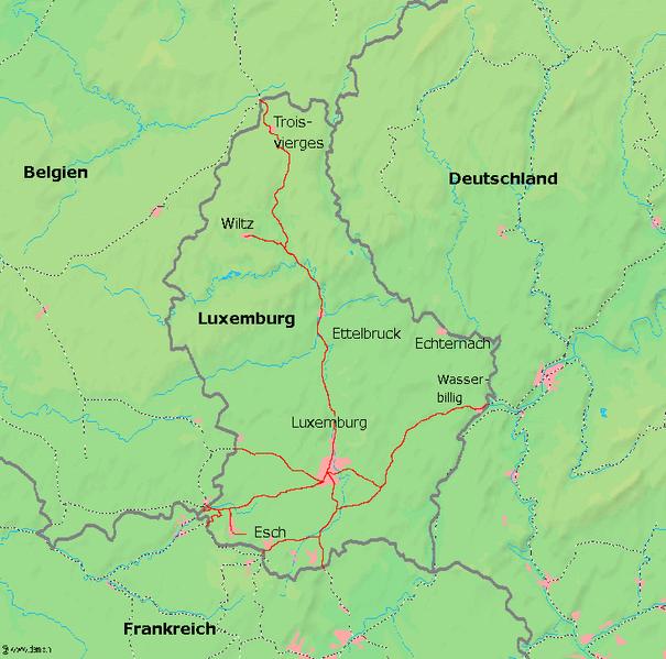 Mapa sieci kolejowej Luksemburga