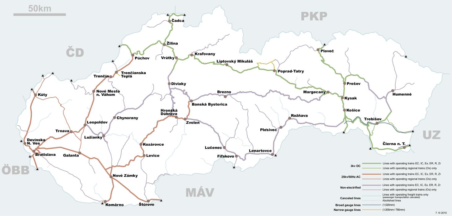 Mapa sieci kolejowej na Słowacji