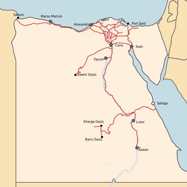 Mapa sieci kolejowej w Egipcie