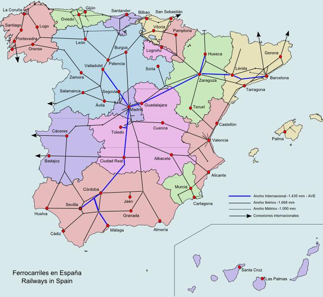 Mapa sieci kolejowych w Hiszpanii