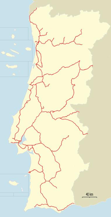 Mapa sieci kolejowej Portugalii