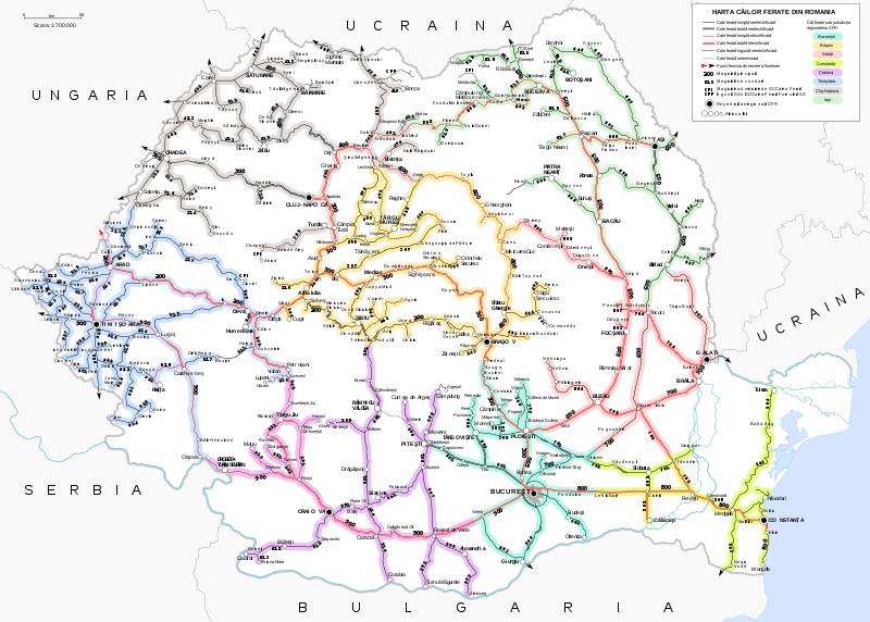 Mapa sieci kolejowej w Rumunii