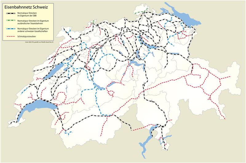 Mapa sieci kolejowej w Szwajcarii