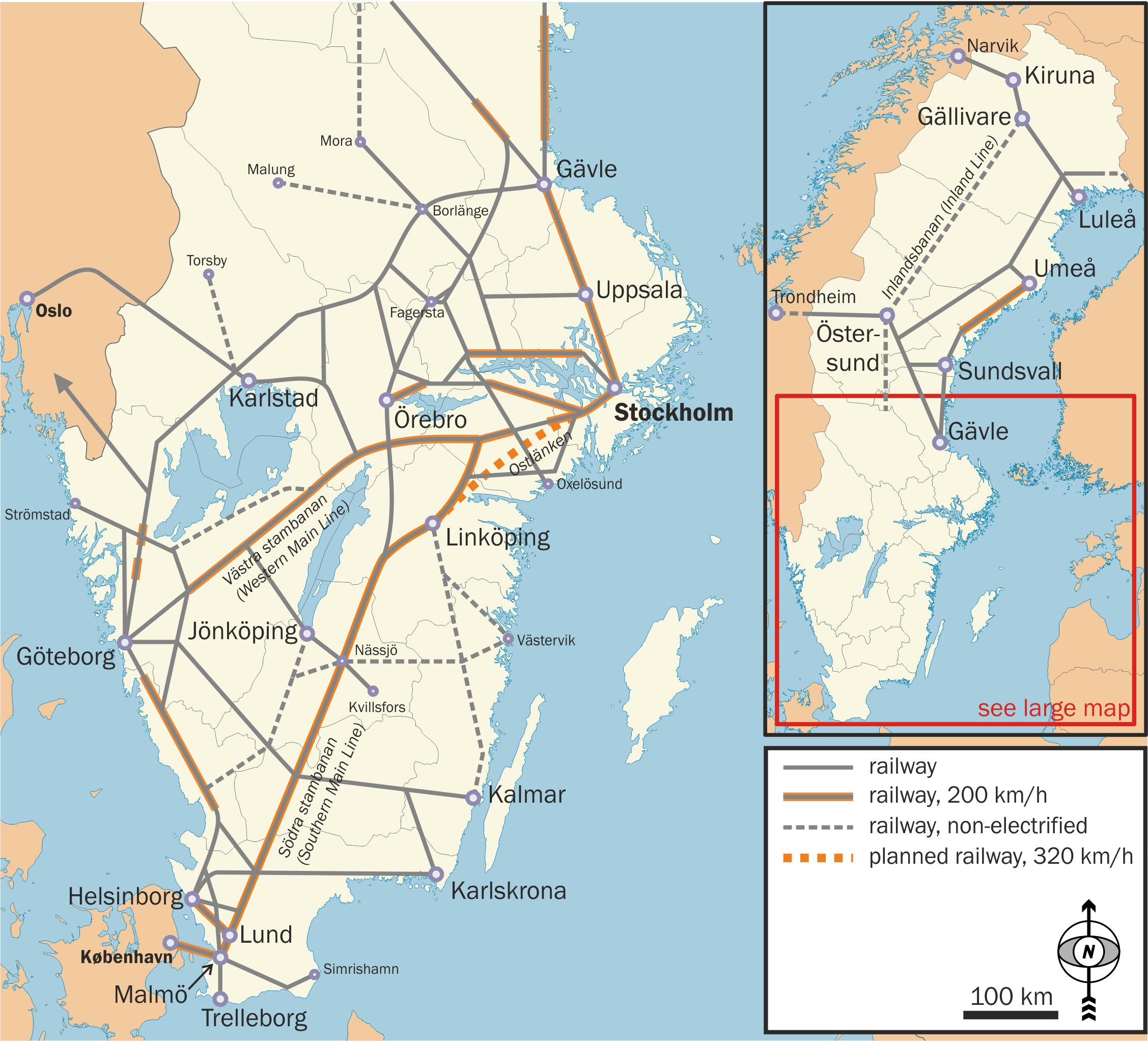 Mapa sieci kolejowej w Szwecji